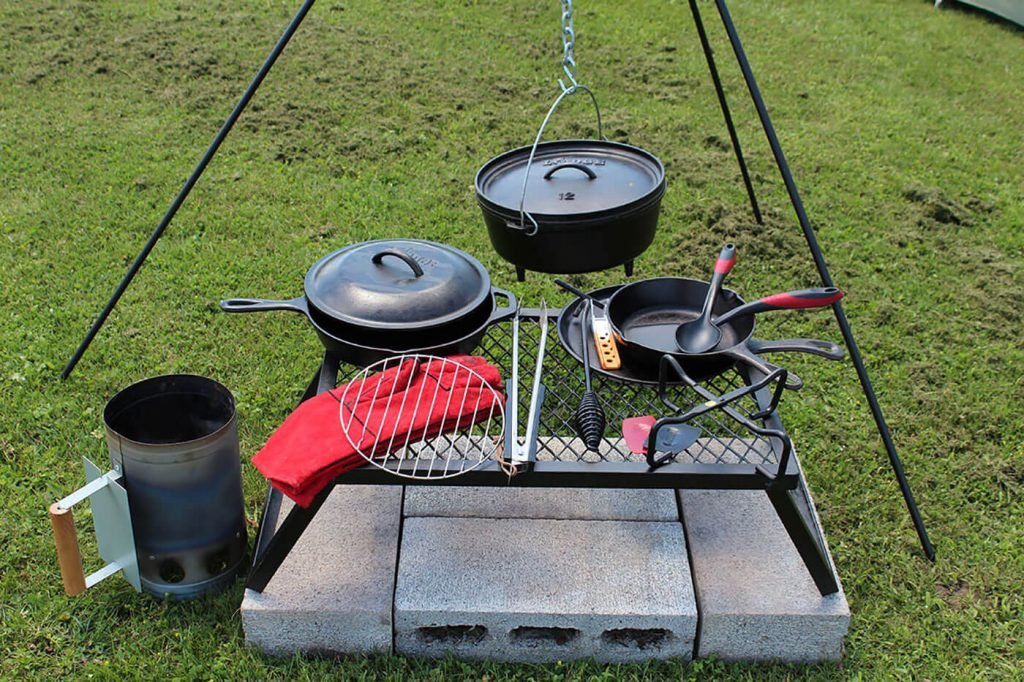 A set of camp cooking gear for eating well outdoors