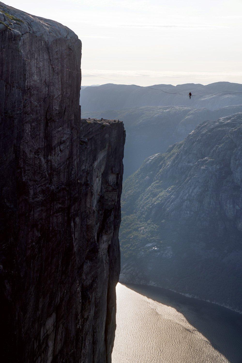 Slacklining 3,000 feet above a fjord