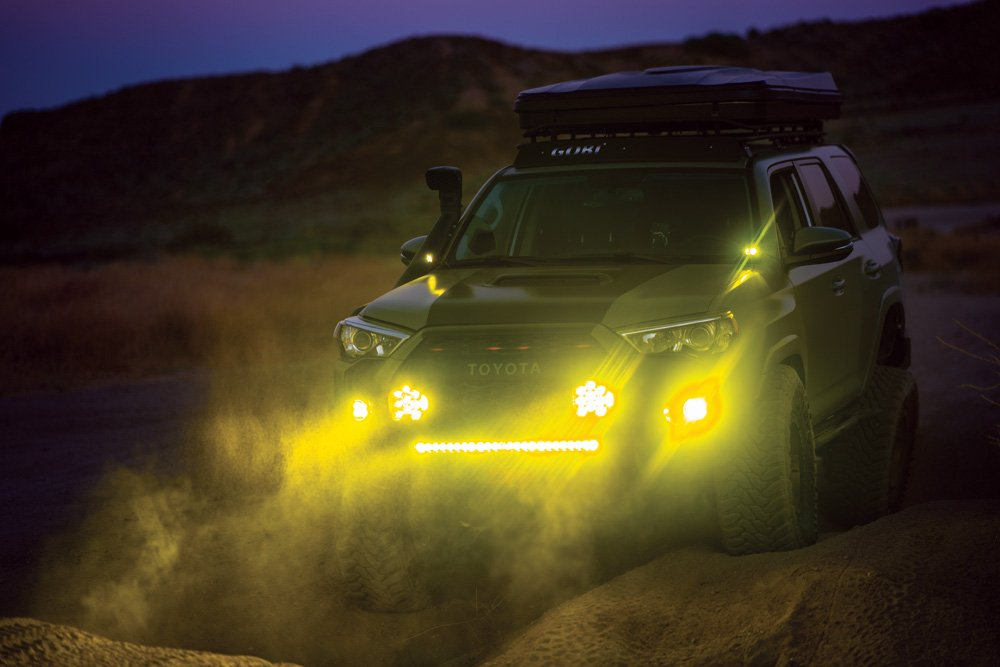 This Toyota is equipped with high-powered Baja Designs lights